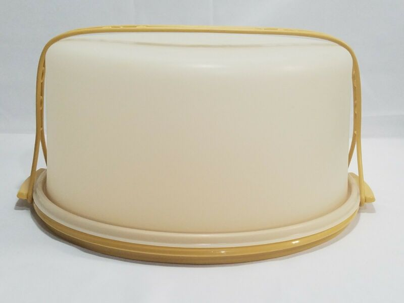 "Vintage Tupperware Cake Holder Carrier w/ Handle MADE IN USA 1256-5 1257-5 12"" D"