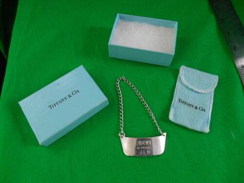 Tiffany & Co Sterling Silver Liquor Bottle Tag, w/ bag & box ~ 15 Years At Avon