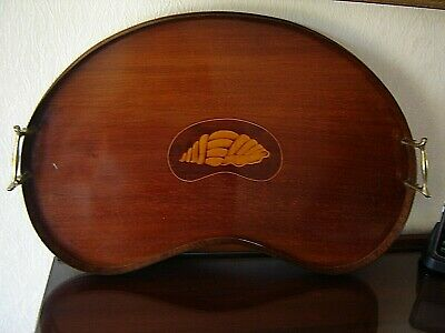 ANTIQUE EDWARDIAN VICTORIAN BUTLERS KIDNEY SHAPE TRAY SHELL INLAY MAHOGANY BRASS