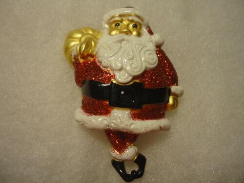 AJC vtg/nos huge enamel Musical Santa pin WORKS