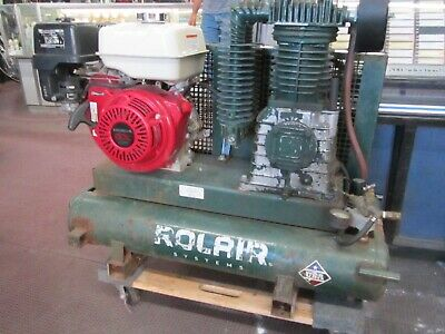 Rolair Air Cpmpressor 8422hk30-0001 9hp Portable Two Stage Gas Twin Tank Honda