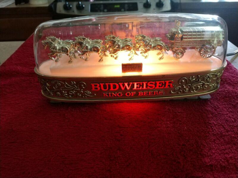 VTG Budweiser Breweriana Clydesdale Team Lighted Cash Register Sign Very Rare
