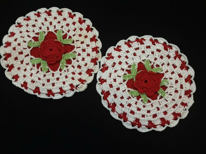 SET OF 2 vintage Hand Crochet HOT PADS POTHOLDERS Red and White 1950s-60s
