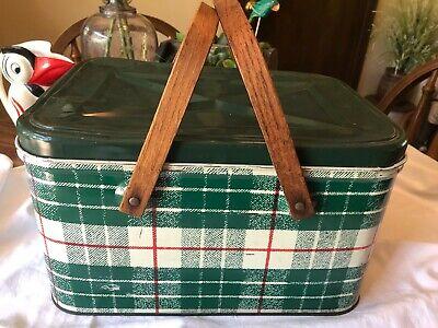 Vintage Metal Green White Red Plaid Picnic Basket Wooden Handle NC Colorware