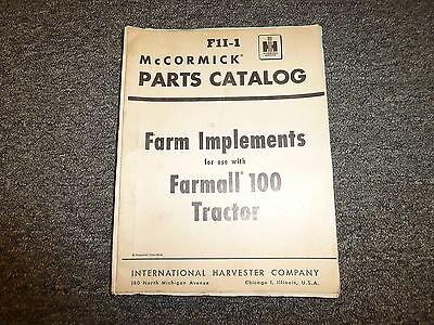 International Mccormick Farmall 100 Tractor Implements Parts Catalog Manual Fii1