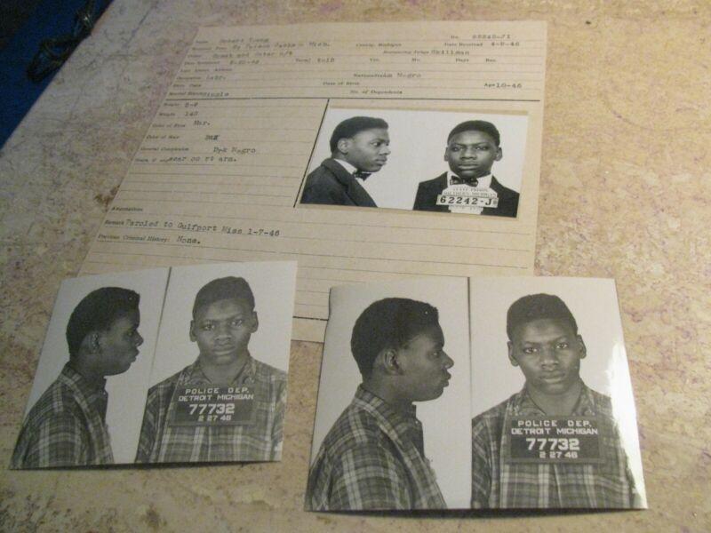 1946 Detroit Police Dept Criminal Mug Shot Robert Young B&E Master Record Files
