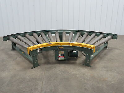 Hytrol Chain Driven Powered Live Roller Tapered 90 Deg Curved Pallet Conveyor