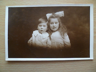 Vintage Children Postcard- Two Sweet Little Children's Photo