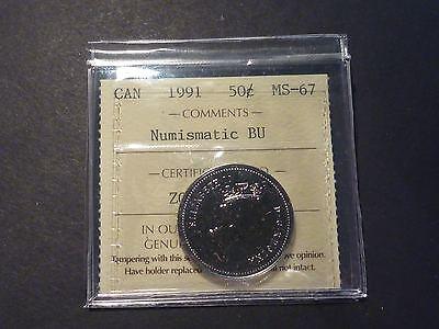 CANADA 50 CENT 1991 ICCS MS 67 NUMISMATIC BU