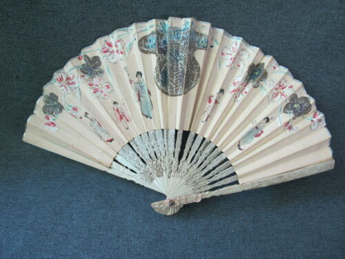 Antique hand painted chinese women & fowers paper wooden small hand fan