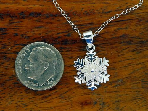NEW silver SNOWFLAKE CZ CHRISTMAS WINTER PENDANT CHAIN charm NECKLACE
