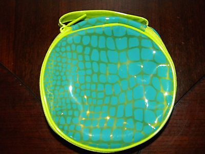 Clinique Make Up Bag Python Animal Print Lime Green Turquoise Blue Cosmetic Case