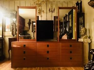Mid Century Dresser with 2 Mirrors
