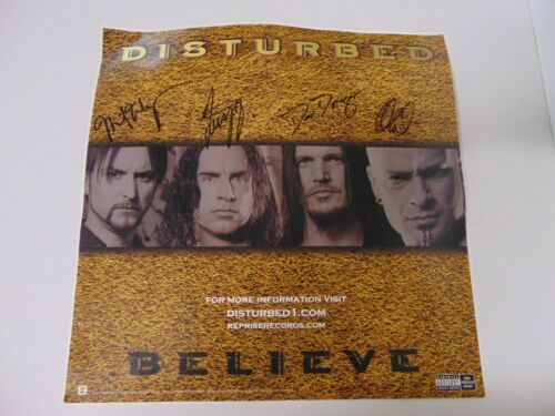Rock DISTURBED Autographed BELIEVE Album cover card ~ All 4 Band Members signed!