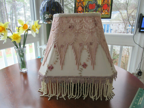 OUTSTANDING VINTAGE VICTORIAN CLOTH LAMP SHADE HANDMADE ONE OF A KIND W / FRINGE