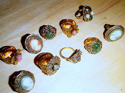 Lot of 10 Vintage Rings from the 1960's New Old Stock,  Cameo Jade etc COCKTAIL