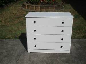 REFURBISHED 4 DRAWER TALLBOY IN GLOSS WHITE