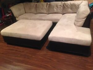 L shaped couches Brown ,Beige leather ultra suede sectional