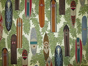SURF BOARDS SURFBOARDS LEAVES CREAM COLORS COTTON FABRIC FQ