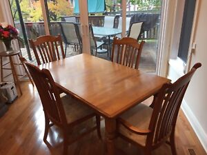 Hardwood kitchen table with extension and 4 chairs
