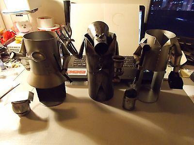 LOT OF 3 METAL Sculptures Wine Bottle Holder Metal Art CARPENTER AND 2 COOKS