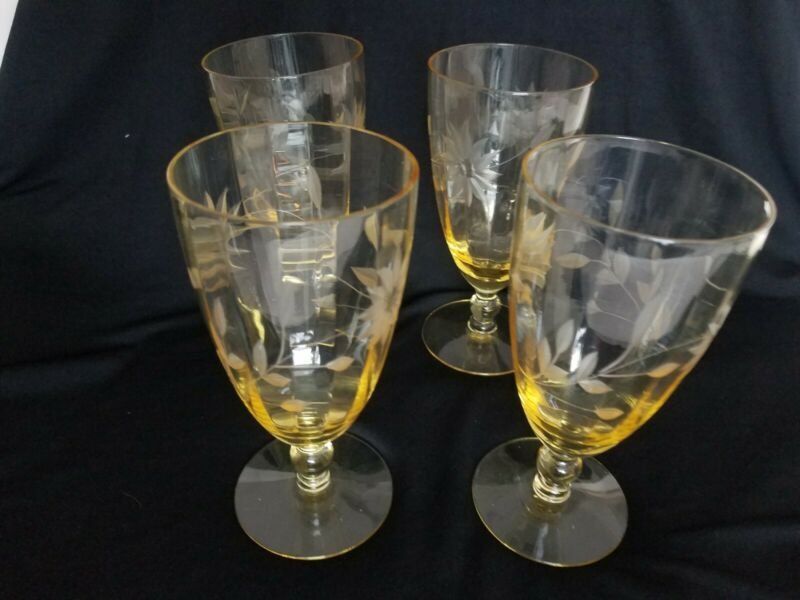 Vintage Lancaster Yellow Optic Topaz Jubilee Set Of 4 Footed Glasses Excellent