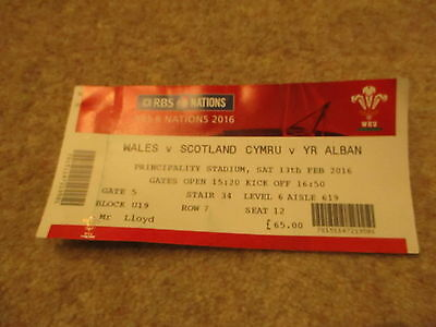 Wales v Scotland RBS 6 Nations Saturday13th February 2016 Ticket Stub.