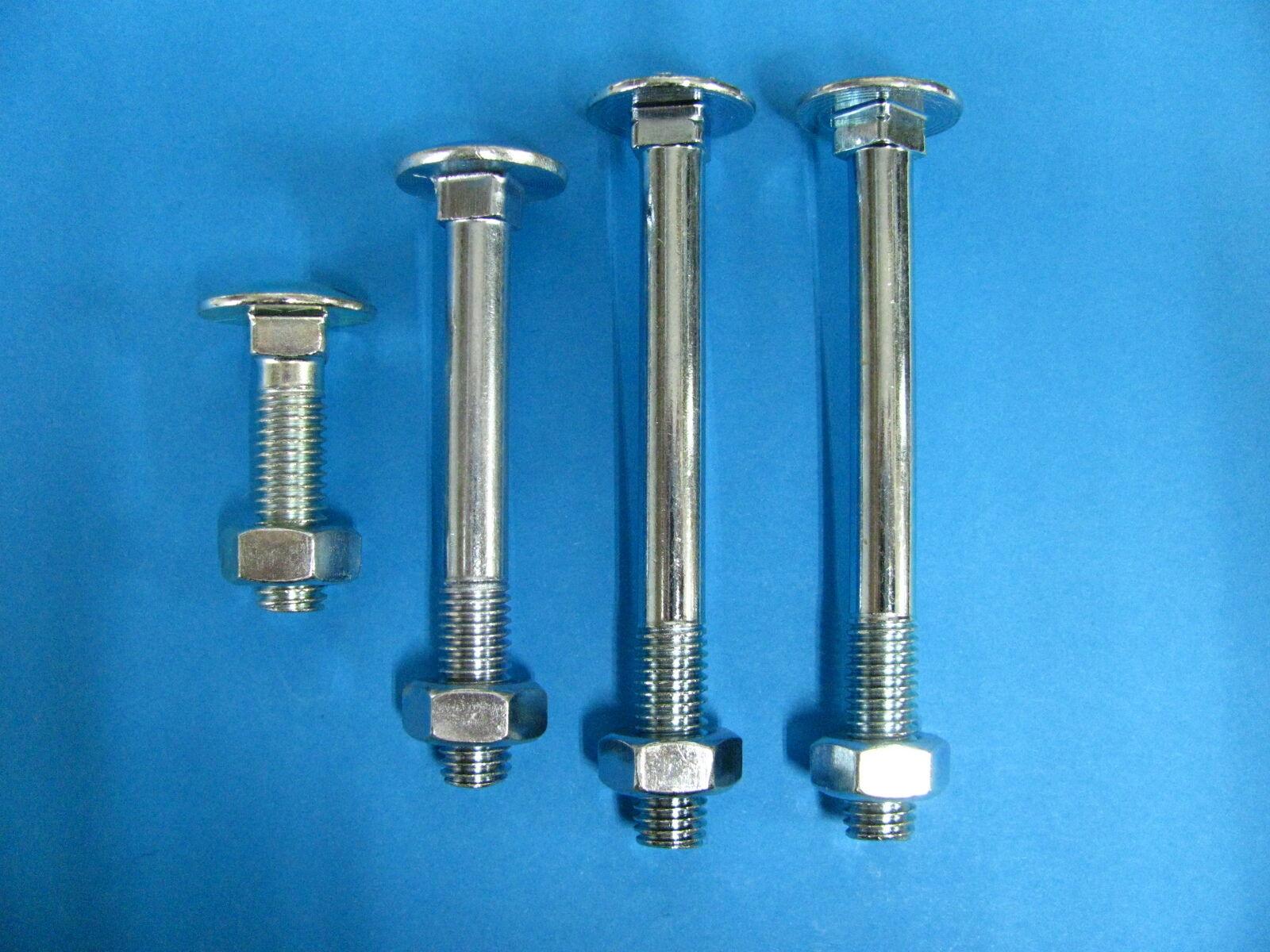 Schloßschrauben mit Muttern verzinkt Din603 Flachrundschrauben M5,M6,M8,M10,M12