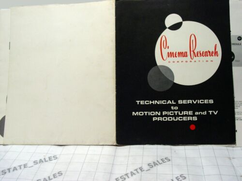 vintage orig 1970 CINEMA RESEARCH tech services TV FILM PRODUCERS price brochure