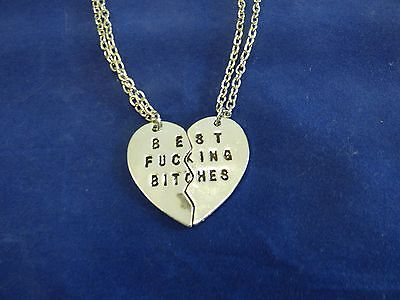 US Seller SILVER Best Bitches  BFF Heart Friendship Pendant