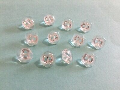12 Hexagon Shaped Old/vintage Clear Glass Buttons.