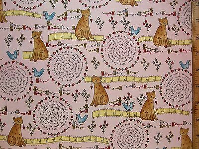 Love Cats Birds Sayings Sewing Flowers cotton fabric BY THE YARD BTY