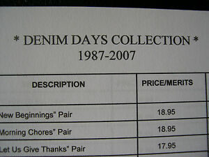 Home Interiors HOMCO Denim Days Collection Figurines Reference List Complete
