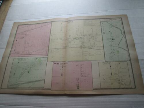 """1-1880 ANTIQUE MAP, """"ALDEN, WEST & CENTER"""", ++ ERIE COUNTY ATLAS, NY,  F W BEERS"""