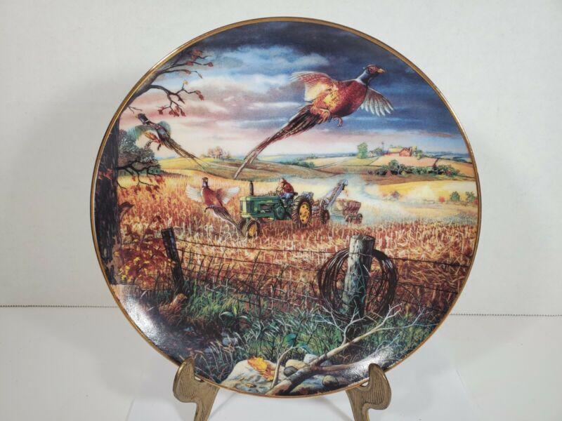 Danbury Mint Plate Life on the Farm Autumn Harvest John Deere Tractor Pheasants