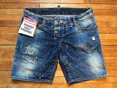 DSQUARED 2 RUNWAY RARE SWEET DUNGAREES FRAYED DOUBLE BUTTON DENIM JEANS S 44 28
