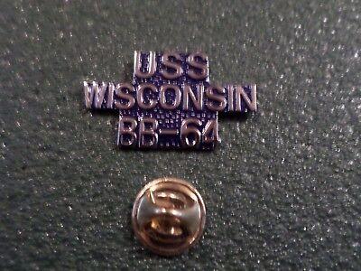 U.S MILITARY NAVY SHIP USS WISCONSIN BB-64 HAT LAPEL PIN CLUTCH BACK
