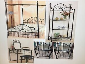 Bedroom Furniture 5 piece set (black Iron) Frame/table/bookcase