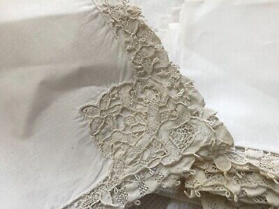 "11 Antique 13.5"" linen luncheon Italian needle lace point de Venice white napkin"