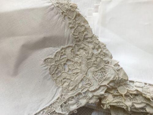 "11 Antique 13.5"" linen luncheon Italian needle lace point de Venice white napkin"