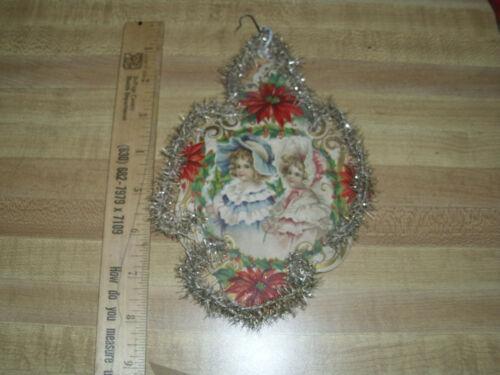 Lg Victorian Scrap Tinsel Children  German  Antique Ornament