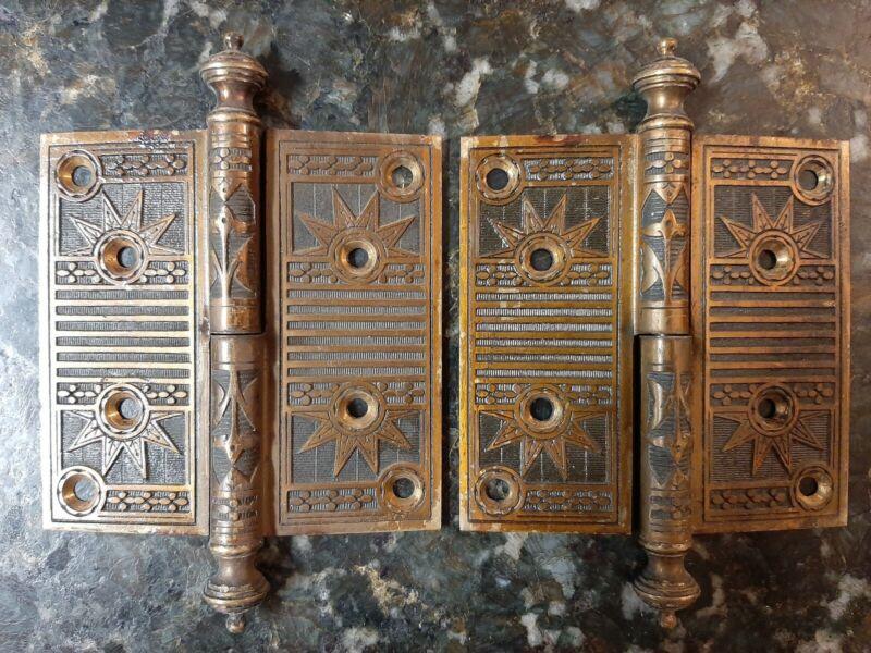 "Antique Victorian Eastlake Door Hinge Pair Set Large 4 1/2"" Rare"