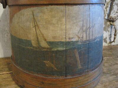 19th Century Folk Art Primitive Wood Firkin Ships Painting on the Front AAFA
