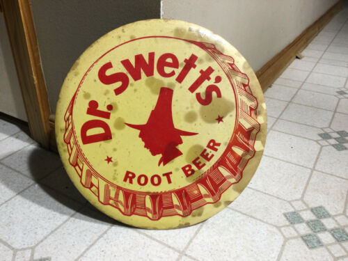 VINTAGE DR SWETTS ROOT BEER SIGN CELULOID  BUTTON BADGE PHILADELPHIA PA BADGE CO