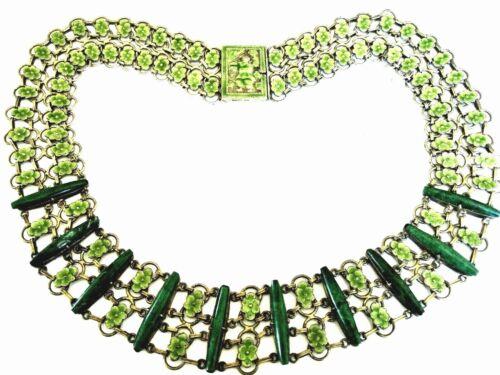 Rare Antique Vintage Chinese Gilt Silver Malachite Green Enamel Collar Necklace