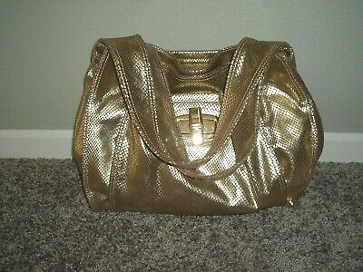 B Makowsky Genuine Leather Metallic Gold Tote Handbag Purse