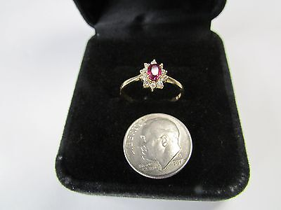 Natural RUBY and Diamonds 14k Yellow Gold Ring  Size 6 1/2 ESTATE  not scrap NR
