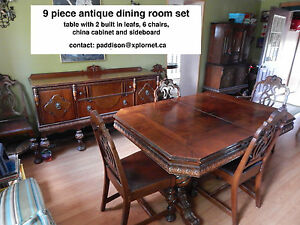 9 piece antique dining set