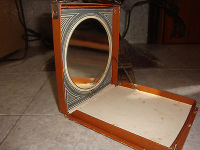 Antico Specchio da viaggio inzi '900 con incisione
