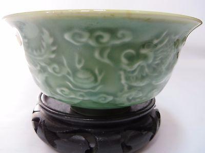 Lovely vintage Chinese green porcelain dragon/phoenix bowl